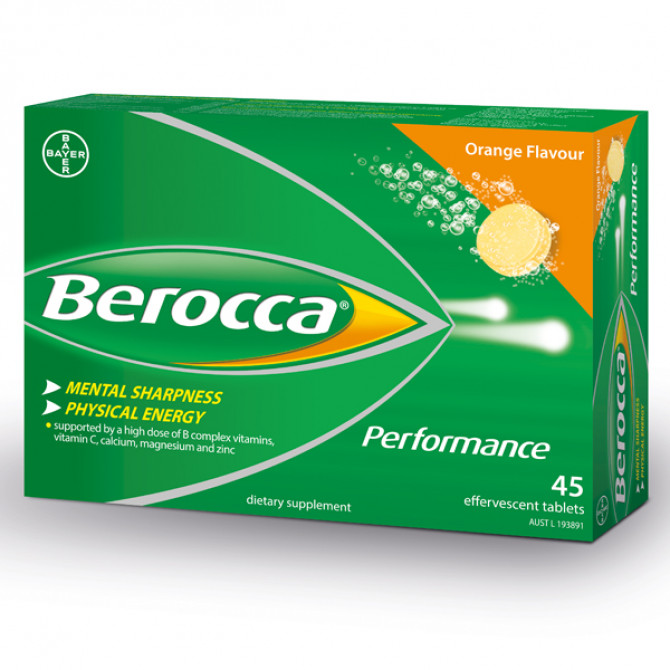 Thumbnail for Berocca Performance Effervescent Orange Tablets 45