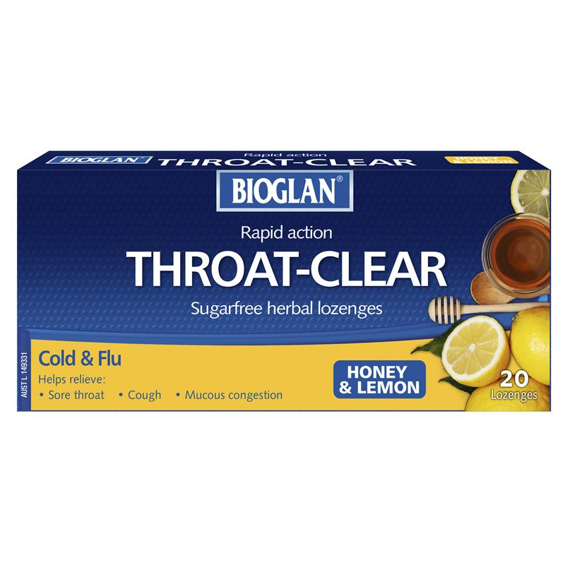 Image 1 for Bioglan Throat Clear Honey Lemon Pastilles 20