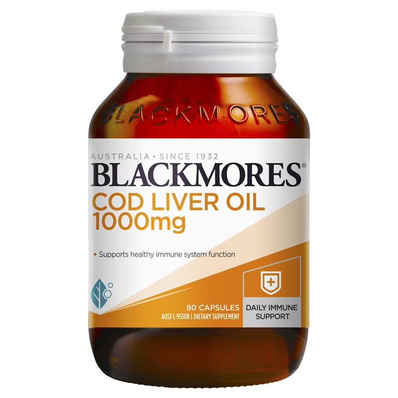 Thumbnail for Blackmores Cod Liver Oil 1000mg Capsules 80