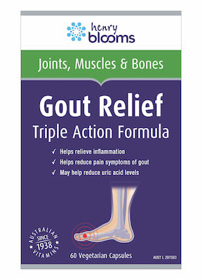 Thumbnail for Henry Blooms Gout Relief Triple Action Formula Capsules x 60