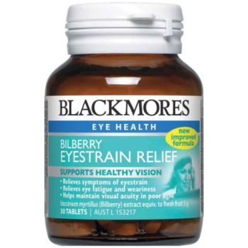 Thumbnail for Blackmores Bilberry Eyestrain Relief 5000mg Tablets 30