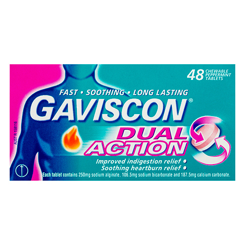 Image 1 for Gaviscon Dual Action Peppermint 48 Tablets