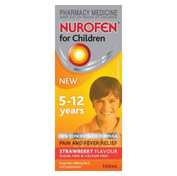 Image 1 for Nurofen Suspension 5-12 Years Strawberry Flavour Concentrated Formula 100mL