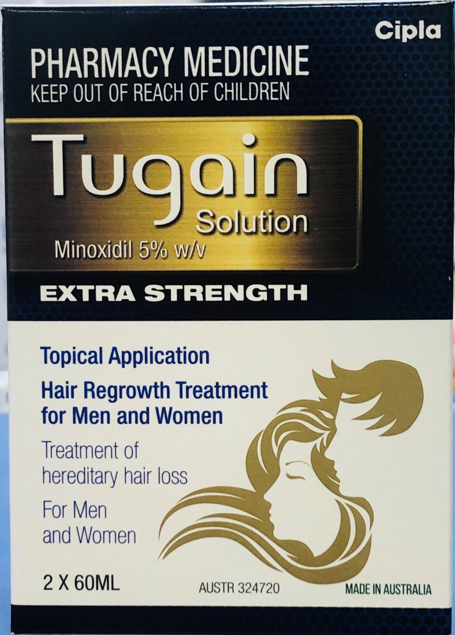 Thumbnail for Tugain Solution minoxidil 5% Extra Strength 2 x 60 mL